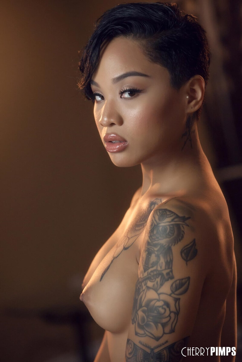 Uma linda mestiça com tattoos e um lindo rosto, seios pequenos e uma bela bunda.