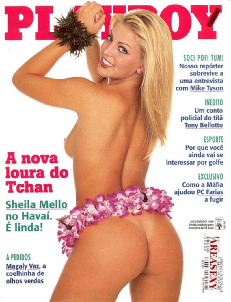 Playboy Sheila Mello dançarina da banda É o Tcham peladinha na Playboy