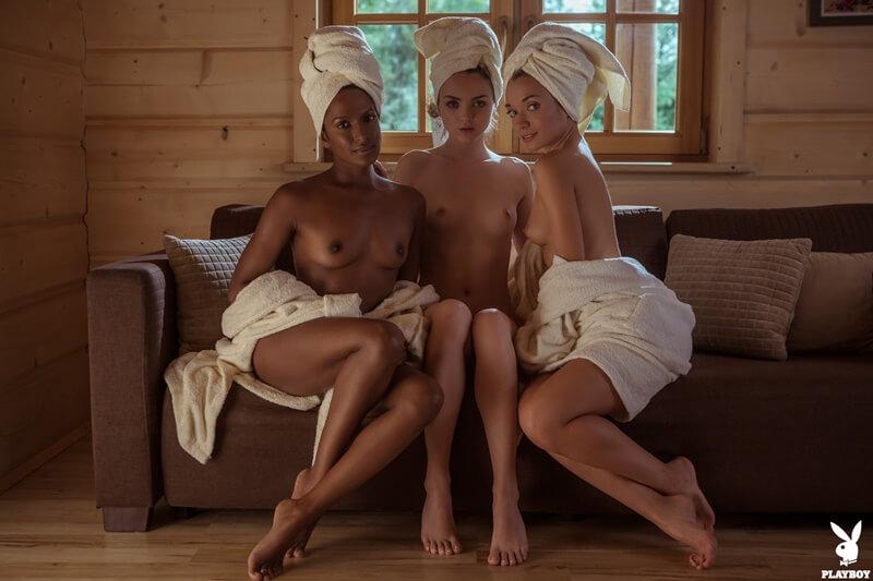 Três gostosas sensuais e safadas com tesão peladinhas bem de